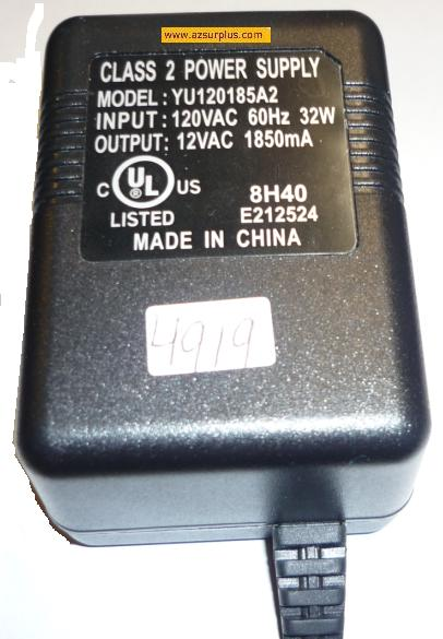 YU120185A2 AC ADAPTER 12VAC 1850mA CLASS 2 Power Supply
