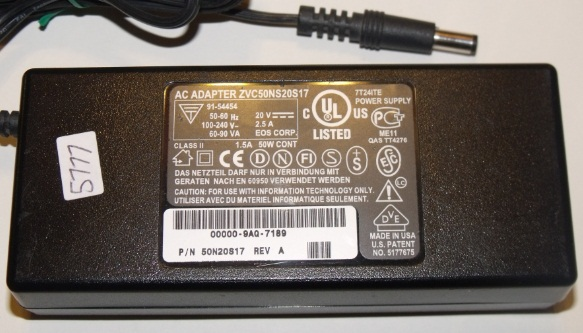 ZVC50NS20S17 AC ADAPTER 20VDC 2.5A USED 2.6 x 5.5 x 11.8mm