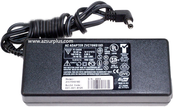 ZVC70NS18D AC ADAPTER 18V DC 3.88A NEW 2x5.3x10mm 90 DEGREE