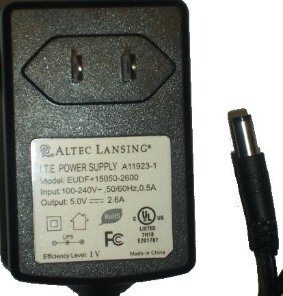 ALTEC LANSING EUDF+15050-2600 AC ADAPTER 5Vdc 2.6A -(+) Used 2x5