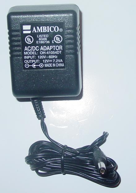 AMBICO OH-41054DT AC Adapter 12VDC 7.2VA Power Supply