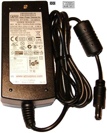 APD DA-36G12 AC Adapter 12VDC 3A Used -(+) 2.5x5.5mm 100-240vac