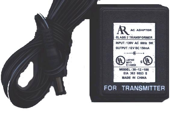 AR 35-12-150 AC DC Adapter 12V 150mA TRANSMITTER's Power Supply