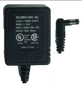 ATLINKS 5-2418A AC ADAPTER 9VAC 400mA ~(~) 2x5.5mm 90° Used 120v