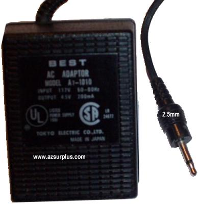 BEST A7-1D10 AC DC ADAPTER 4.5V 200mA POWER SUPPLY