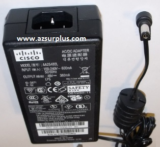CISCO AA25480L AC ADAPTER 48Vdc 380mA USED 2.5x5.5mm 90° -(+) PO