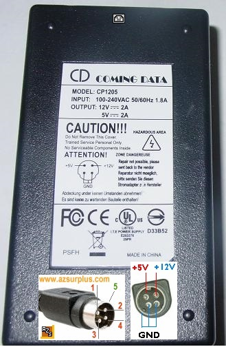CD Coming Data CP1205 AC Adapter 12Vdc 5V 2A 4Pin 10mm power Din