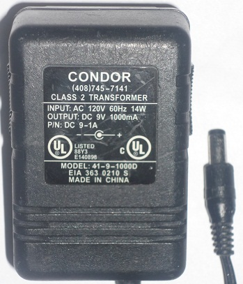 CONDOR 41-9-1000D AC ADAPTER 9V DC 1000mA USED POWER SUPPLY