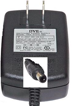 DVE DSA-0151A-05A AC ADAPTER 5VDC 2.4A -(+) 2.1x5.5mm Used ROUND