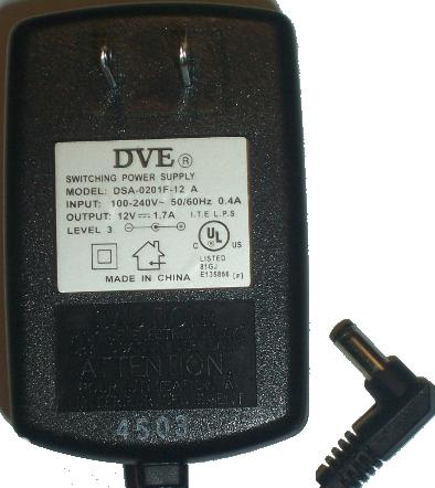 DVE DSA-0201F-12 A AC DC ADAPTER 12V 1.7A POWER SUPPLY