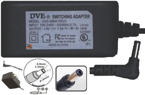 DVE DVS-090A15FUS AC ADAPTER 9VDC 1.5A 100-240V SWITCHING Power