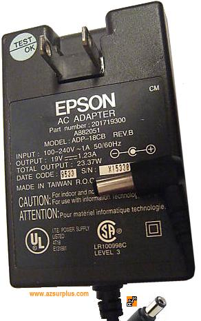 Epson ADP-18CB AC ADAPTER 19VDC 1.23A 201719300 used 100-240VAC