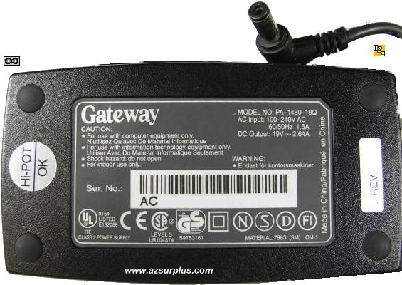 GATEWAY 2000 ADP-50FB AC ADAPTER 19VDC 2.64A USED 2.5x5.5mm PA-1