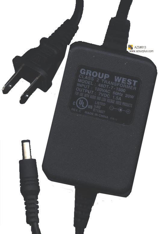 GROUP WEST 48DT-7-1500 AC DC ADAPTER 7V 1.5A POWER SUPPLY