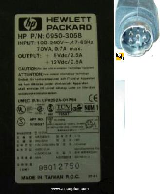 HP 0950-3058 AC ADAPTER 5V 12VDC 2.5A 0.5A 8Pin 9mm 100-240vac P