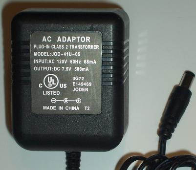 JOD-41U-05 AC ADAPTER 7.5Vdc 500mA -(+) 2x5.5mm Used 120vac POWE