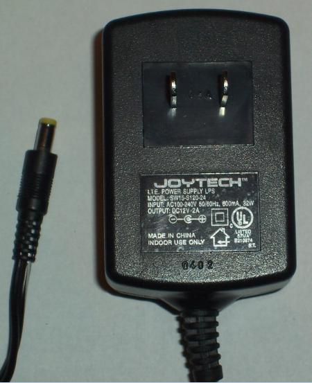 JOYTECH SW15-S120-24 AC ADAPTER 12VDC 2A -(+)- 1.5x4.8mm Used 10