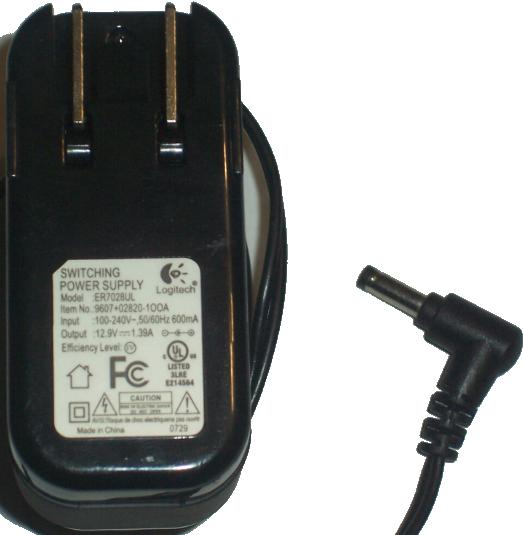 LOGITECH ER7028UL AC DC ADAPTER 12.9V 1.39A POWER SUPPLY