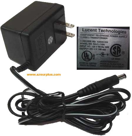LUCENT TECHNOLOGIES SA41-118A AC ADAPTER 9Vdc 700mA -(+)- COMPON
