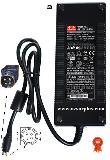 Meanwell GS220A24-R7B AC Adapter 24vdc 9.2A 221W 4Pin +(::)-10mm