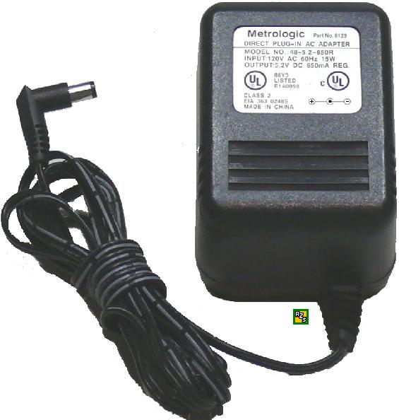 Metrologic 48-5.2-650R Ac Adapter 5.2VDC 650mA +(-) 2x5.5mm 6123 - Click Image to Close