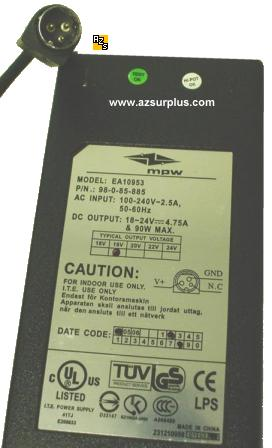 MPW EA10953 AC ADAPTER 19Vdc 4.75A 90W POWER SUPPLY DMP1246