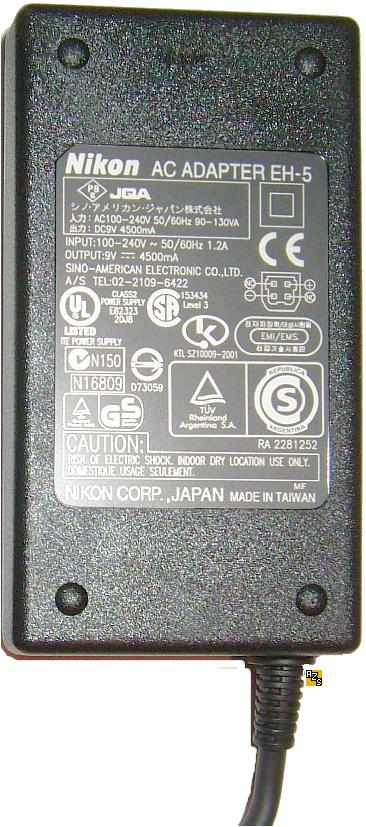 Nikon EH-5 AC ADAPTER 9VDC 4.5A switching power supply Digital C