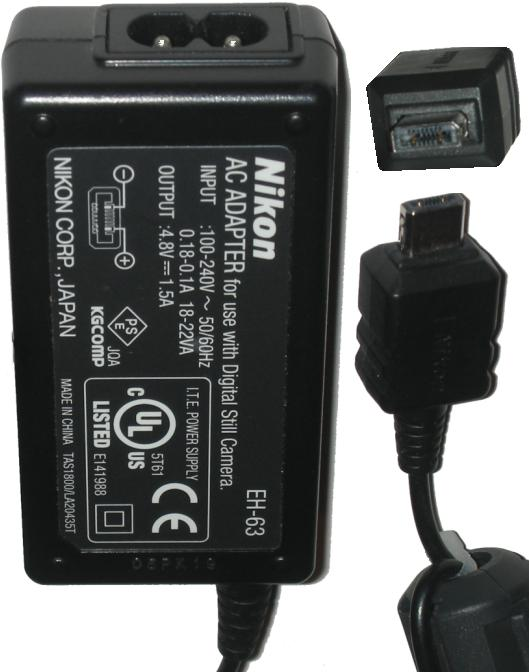 Nikon EH-63 AC DC Adapter 4.8Vdc 1.5A Charger power Supply for N