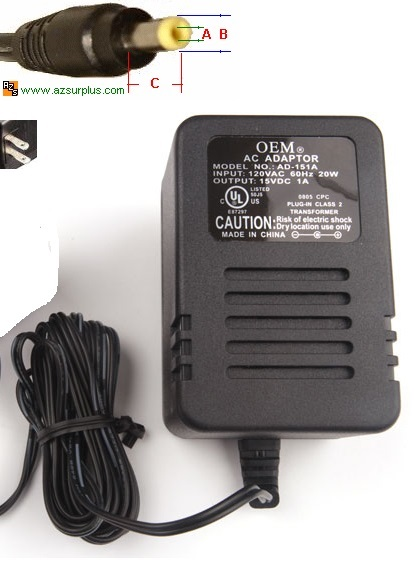 OEM AD-151A AC ADAPTER 15VDC 1A -(+)- 1.8x4.7mm USED POWER SUPPL