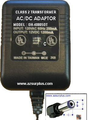 Oriental Hero OH-48085DT AC Adapter 12VDC 1.2A -(+) 2.5x5.5mm 10