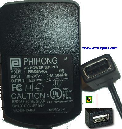 PHIHONG PSM08A-052 AC DC ADAPTER 5.2V 1.6A POWER SUPPLY