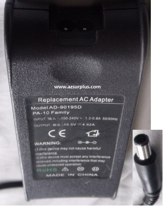AD-90195D AC ADAPTER PA-12 FAMILY 19.5VDC 3.34A USED 1x5x7.2x11
