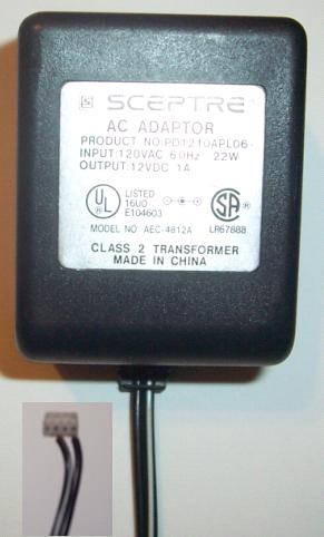 SCEPTRE AEC-4812A AC ADAPTER 12V 1A CLASS 2 TRANSFORMER PD121OAP