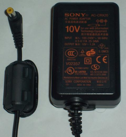 SONY AC-CRX20 AC DC ADAPTER 10V 1.2A POWER SUPPLY