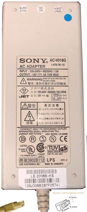 SONY AC-V018G AC ADAPTER 18VDC 4A 72W 4Pin POWER SUPPLY for LAPT