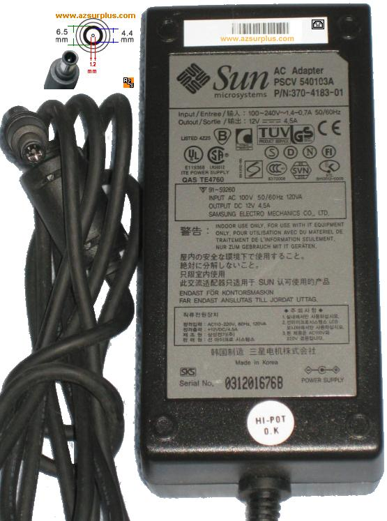 Sun PSCV-540103A AC Adapter 12VDC 4.5A Used 1x4.4x6.5m Power Sup