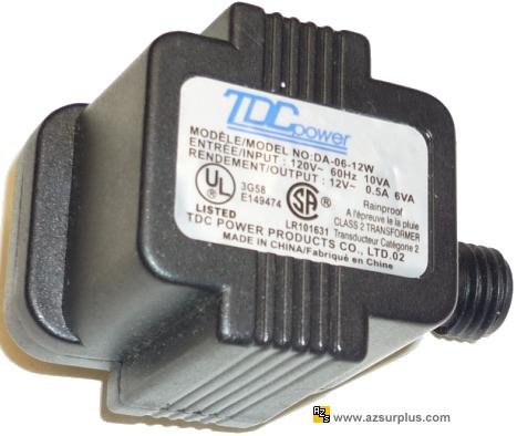 TDC POWER DA-06-12W AC ADAPTER 12VAC 0.5A 2Pin USED POWER SUPPLY