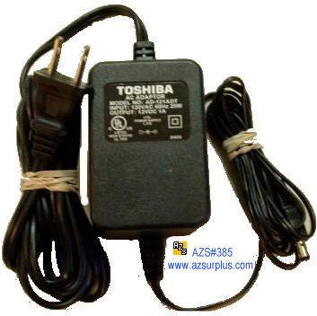 TOSHIBA AD-121ADT AC ADAPTER 12Vdc 1A -(+)- 2x5.5mm 120Vac Used