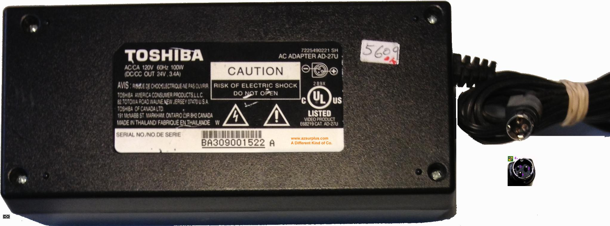 Toshiba AD-27U AC Adapter 24Vdc 3.4A Used Power supply 3 Pin Min