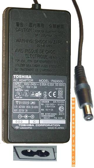 TOSHIBA PA2450U AC ADAPTER 15V DC 3A 45W ADAPTOR POWER SUPPLY PA