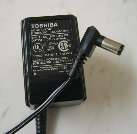 Toshiba TAC-8000BK AC Adapter 9VDC 210mA Power Supply FT-8006 fo