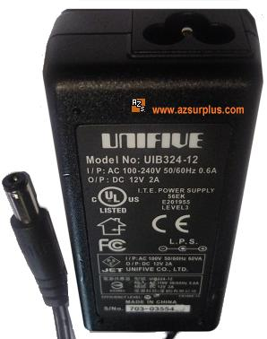 UNIFIVE UIB324-12 AC ADAPTER 12VDC 2A New -(+) 2x5.5mm POWER SUP