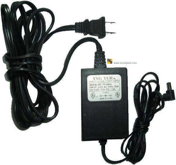 YNG YUH YP-085A Linear AC ADAPTER 7.5VDC 1.5A -(+) 2x5.5mm 120va